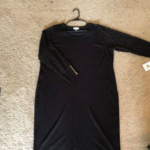 NWT Calvin Klein Black Dress w/ Lace Sleeves 3x